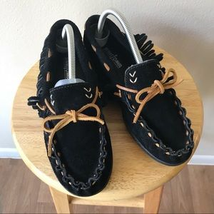 Minnetonka Black Suede Leather Fringe Moccasins